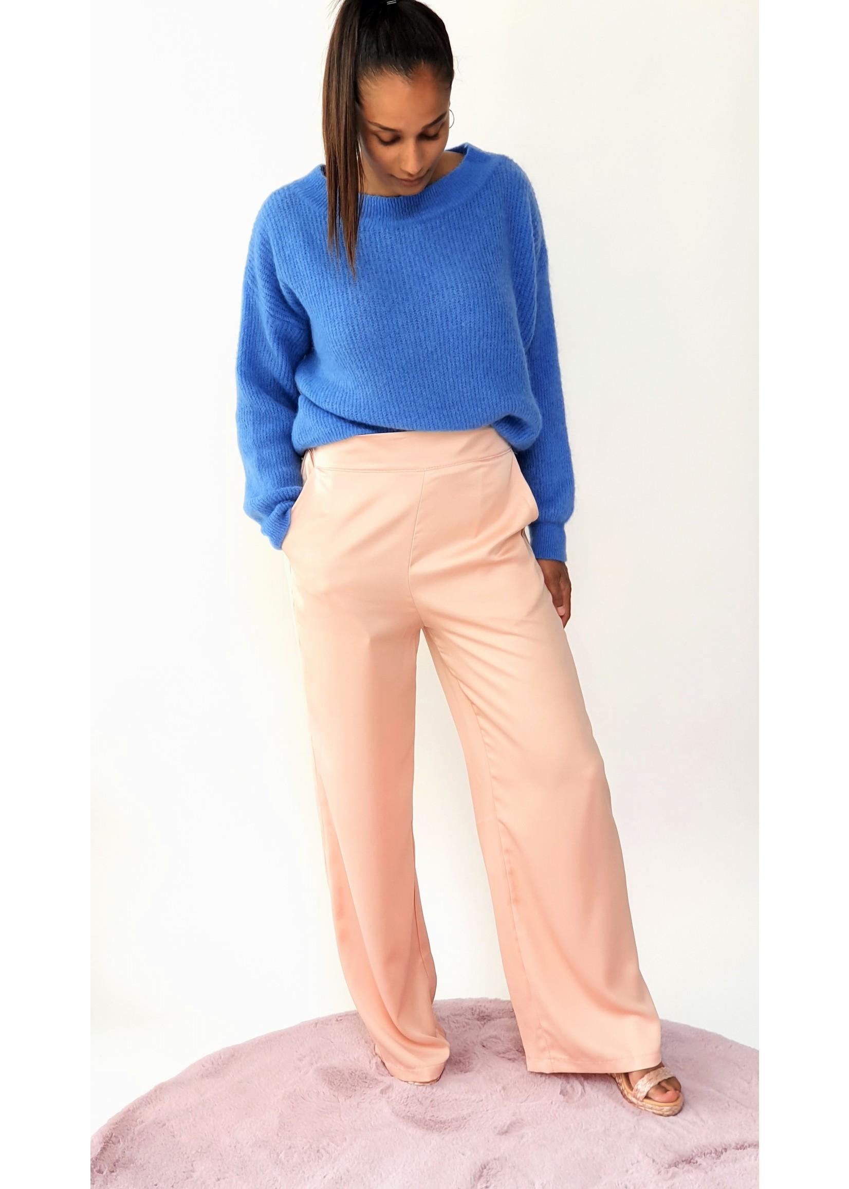 Satin pink broek