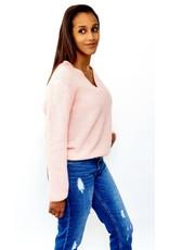 Sweet pink feeling knitted sweater