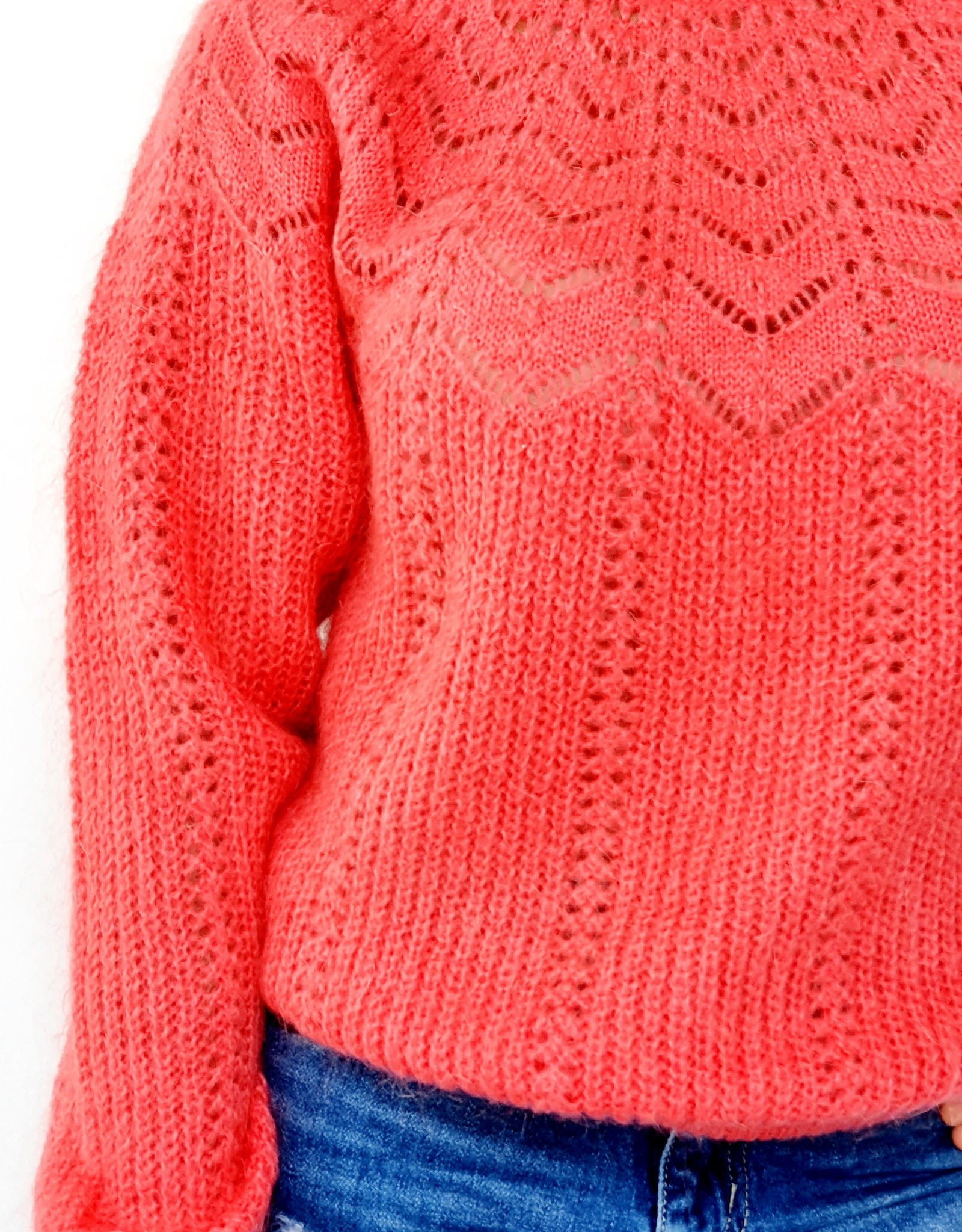 Breeze coral red knitted sweater