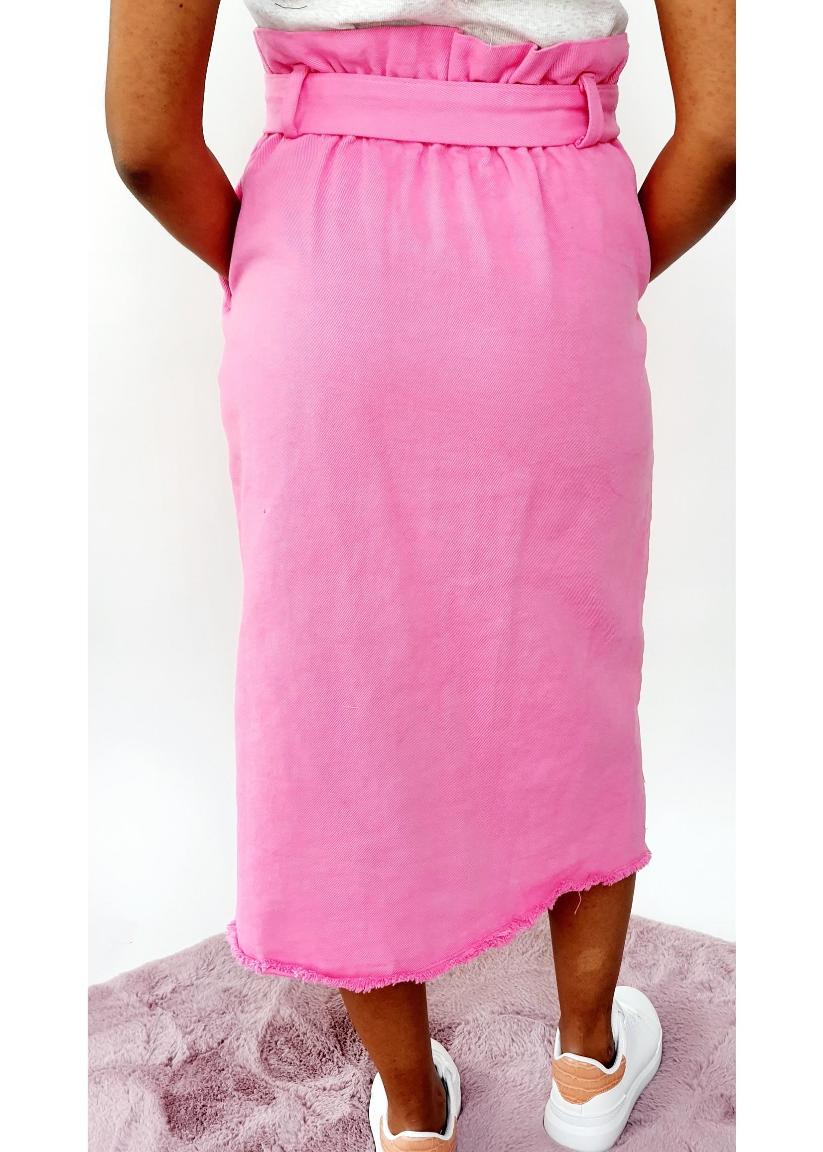 High waist pink skirt