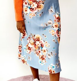 Shiny blue flower skirt