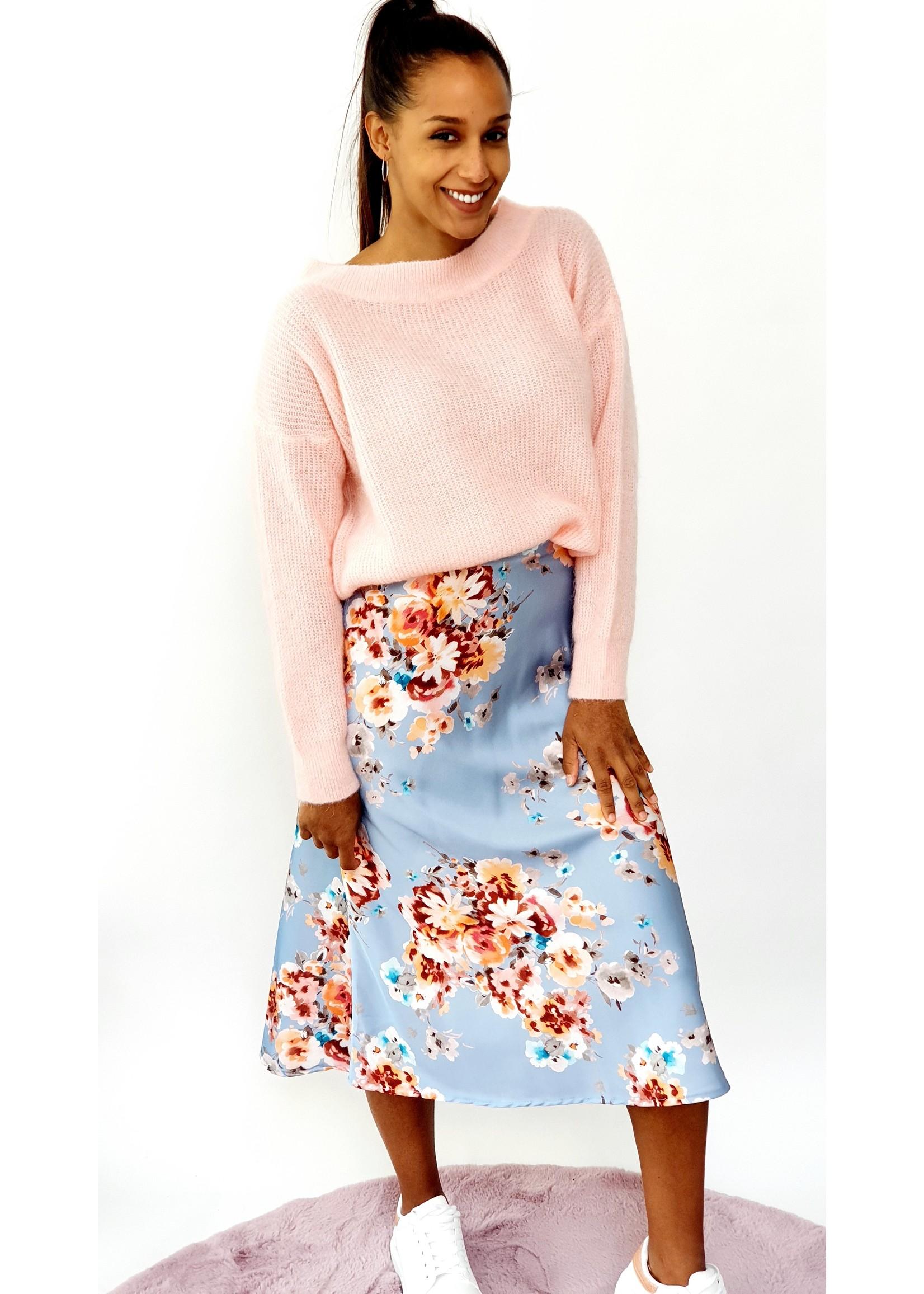 Shiny blue flower skirt
