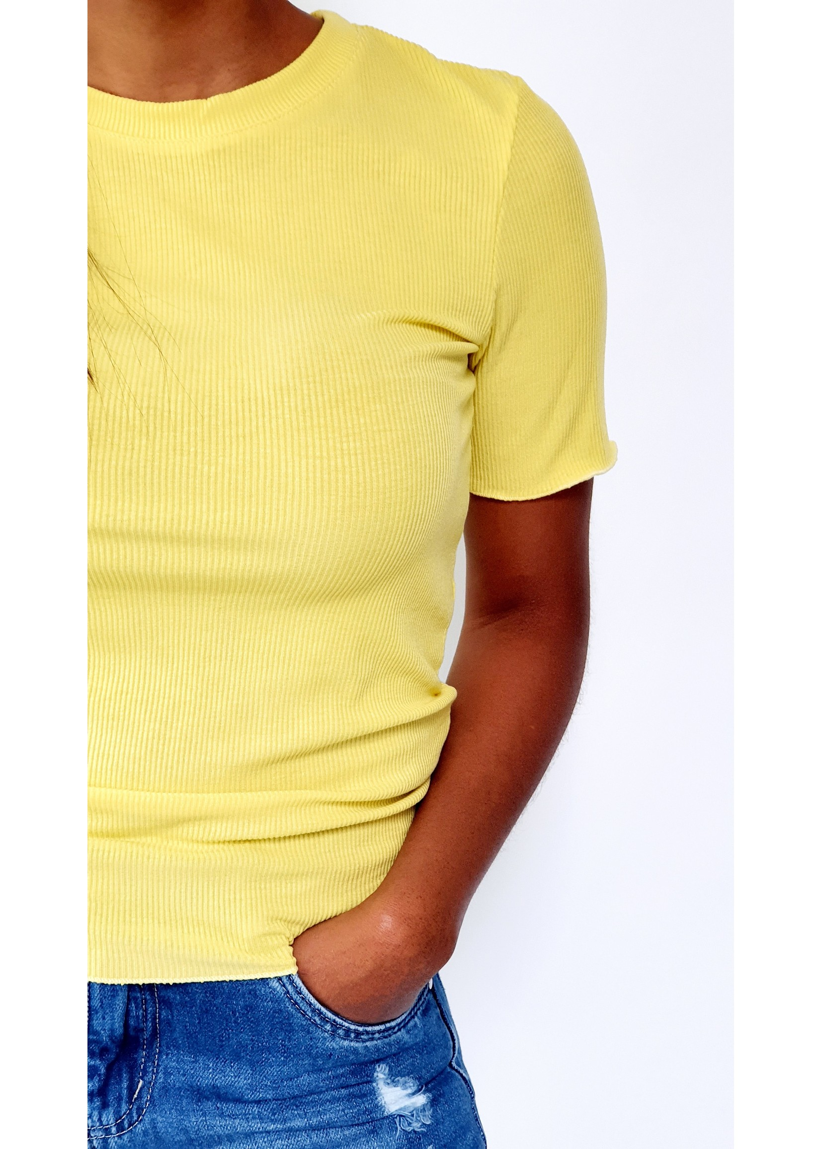 Bright yellow shirt