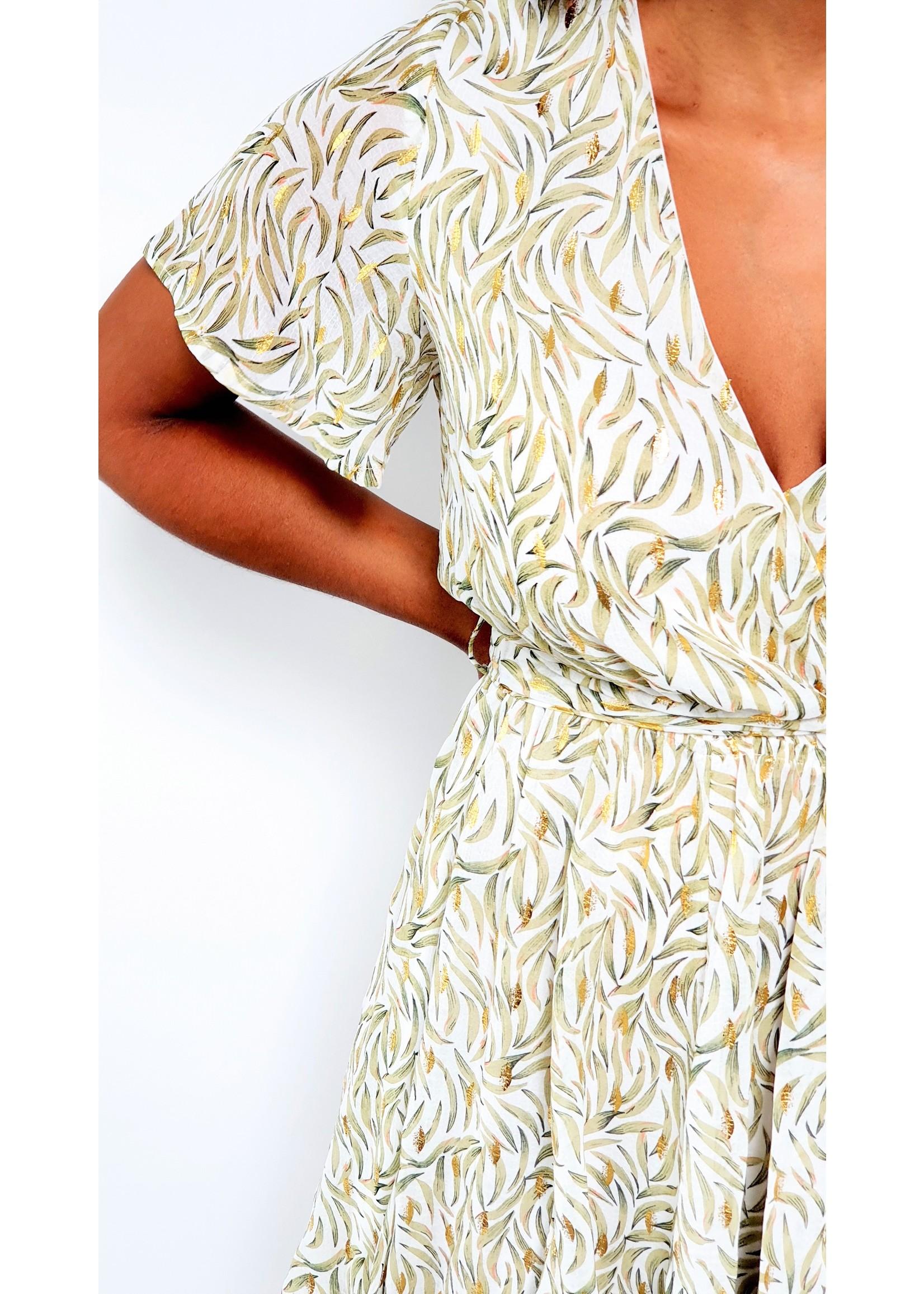 The gold green dress