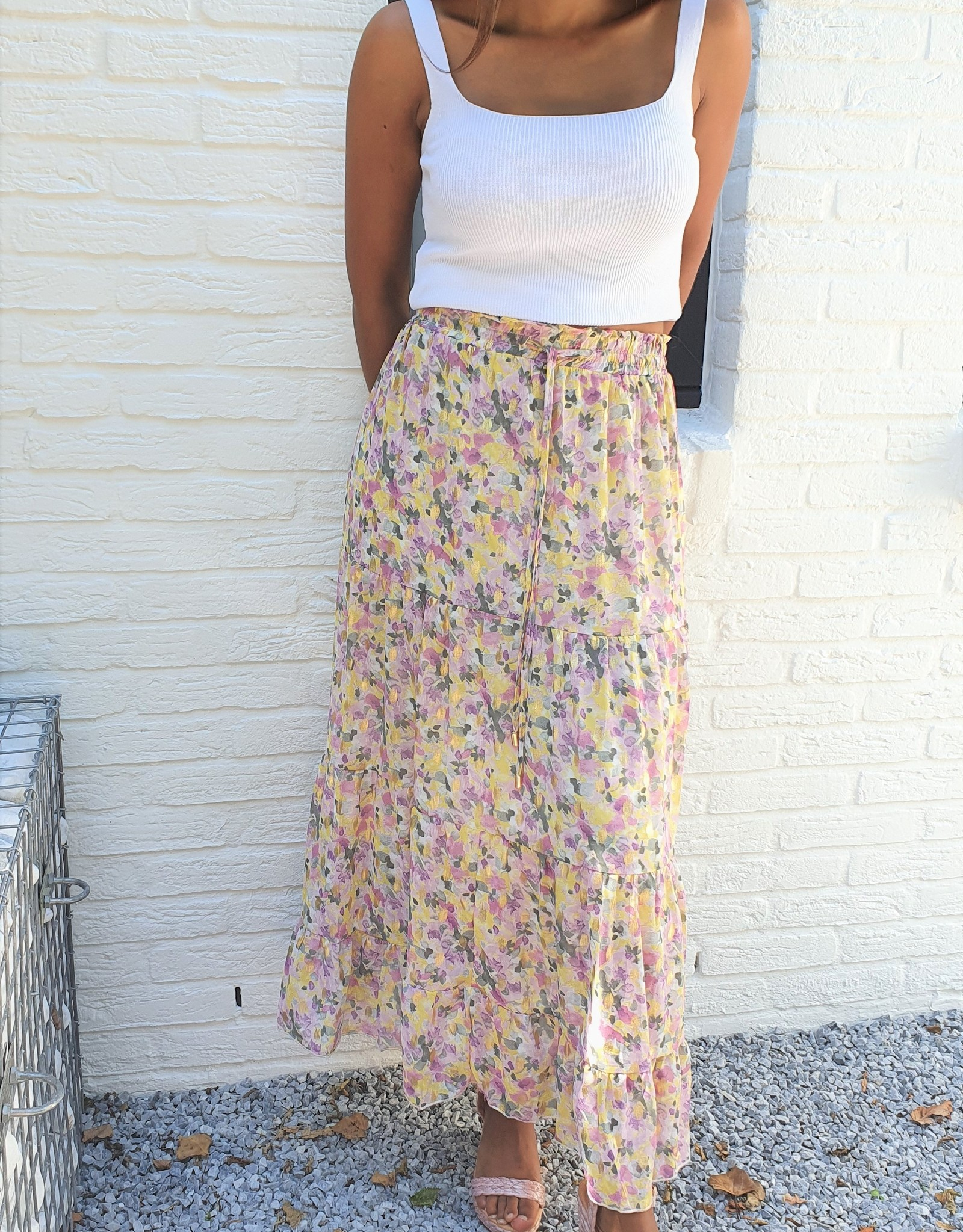 Gold, pink and green skirt