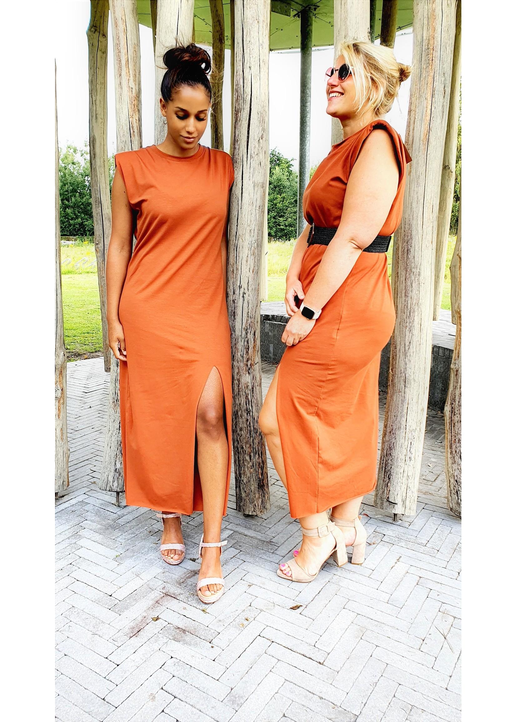 Thé padded terra cotta dress