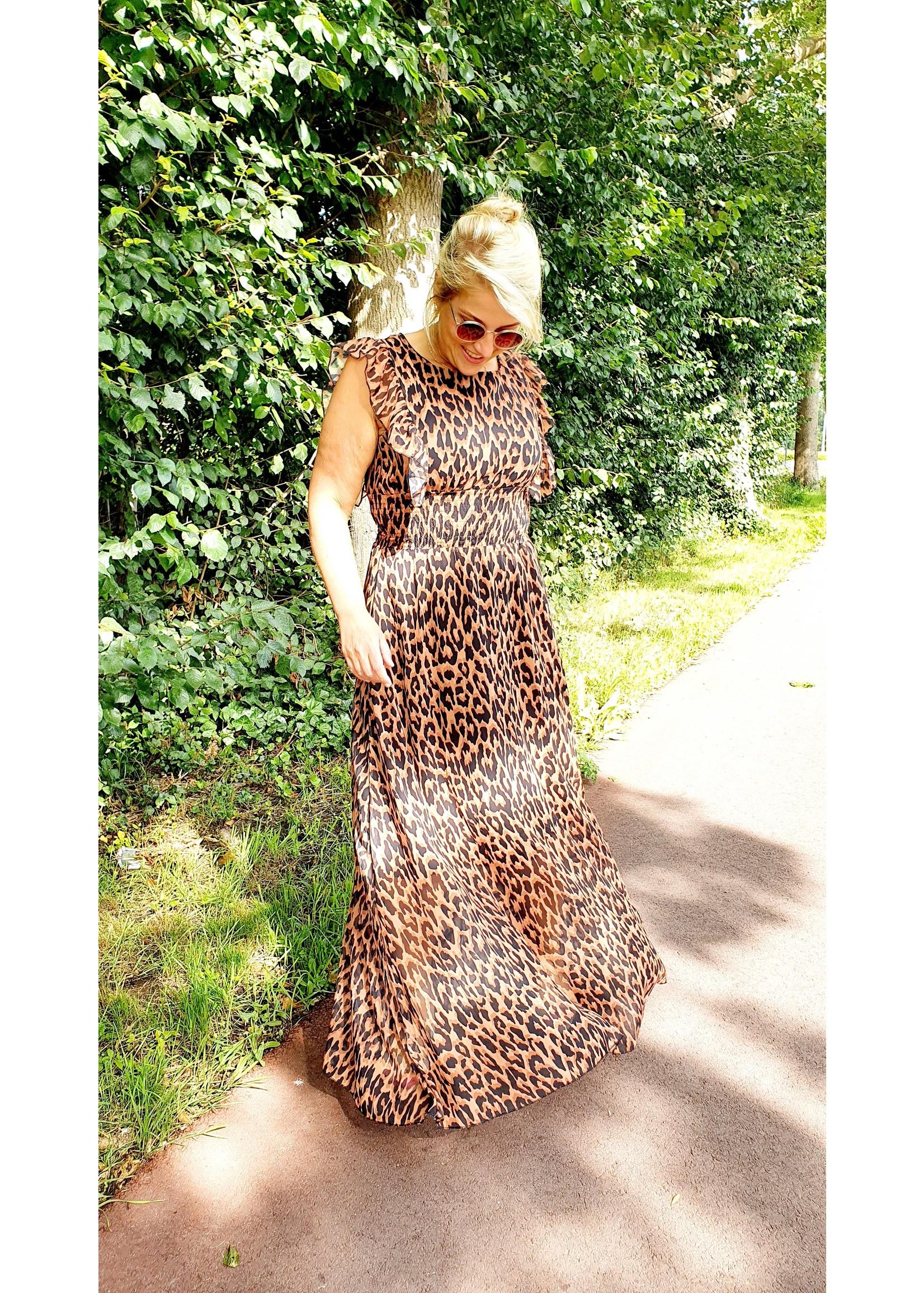 Thé cognac leopard dress