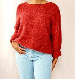 Mika Elles Dark brown red love sweater