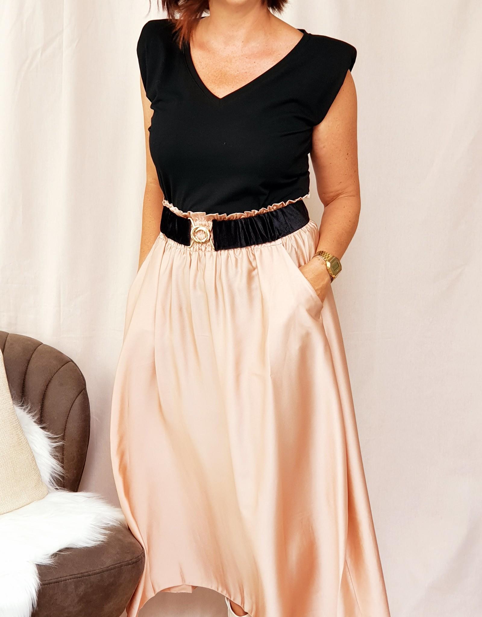 Nude pink satin skirt