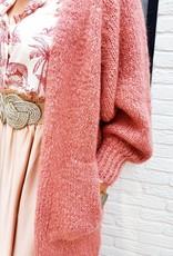 Old pink long love cardigan