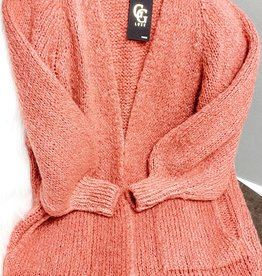 Old pink long love cardigan