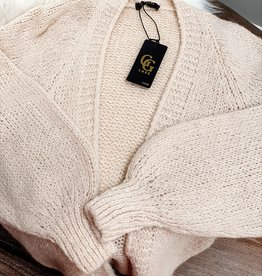 Beige white love cardigan