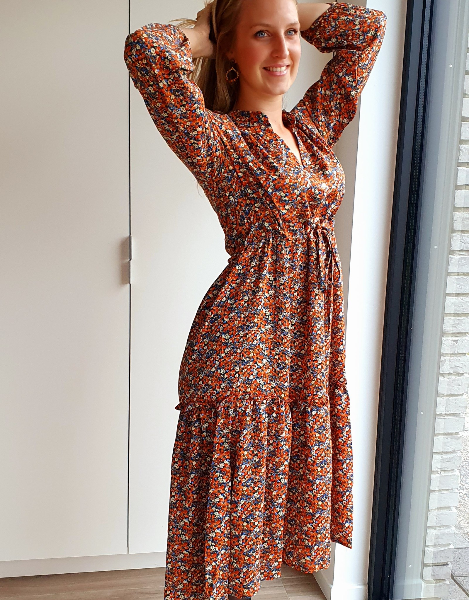 Autumn flower dress with a touch of blue