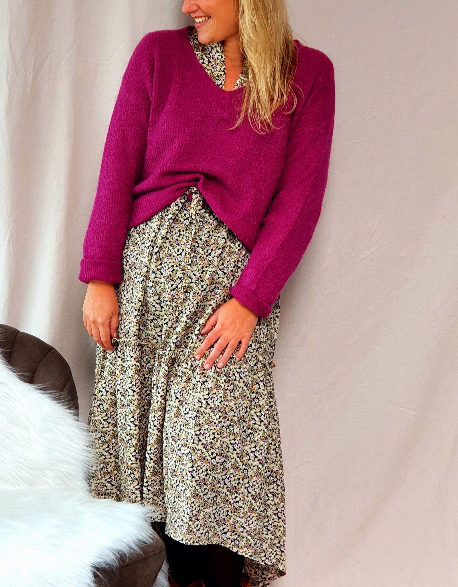 Autumn flower dress with a touch of purple