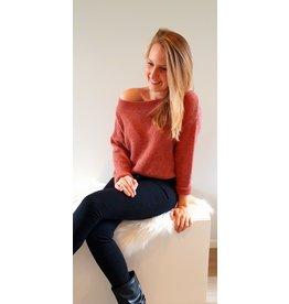 Mika Elles Camel roze feeling knitted sweater