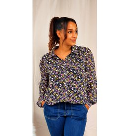 Cherry Paris Officiel Purple Flowers of autumn  blouse