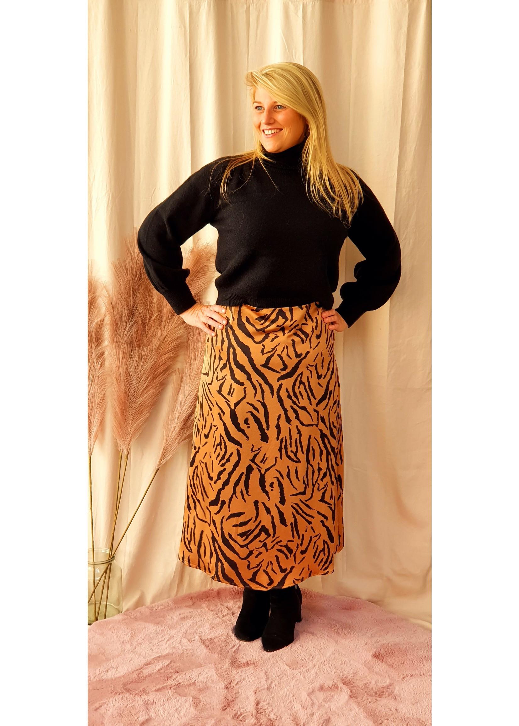 Ydence Skirt Faye Camel Tiger Print