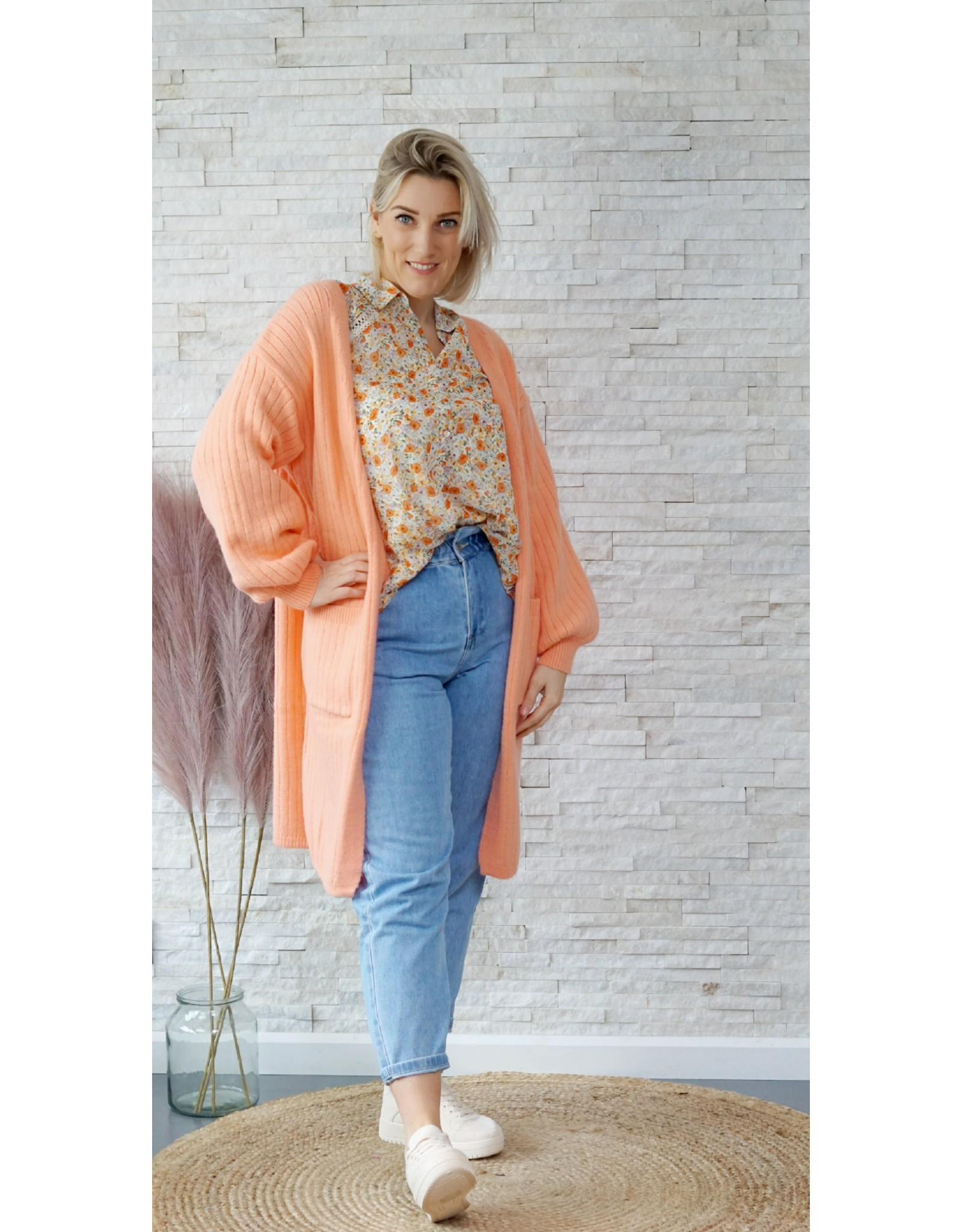 Long soft peach cardigan