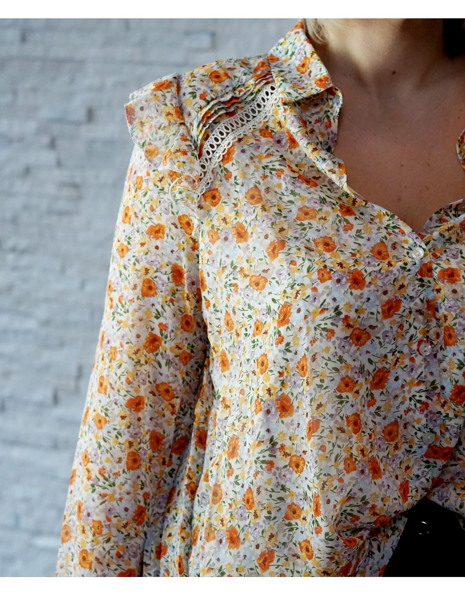 Cherry Paris Officiel Cherry orange flower blouse