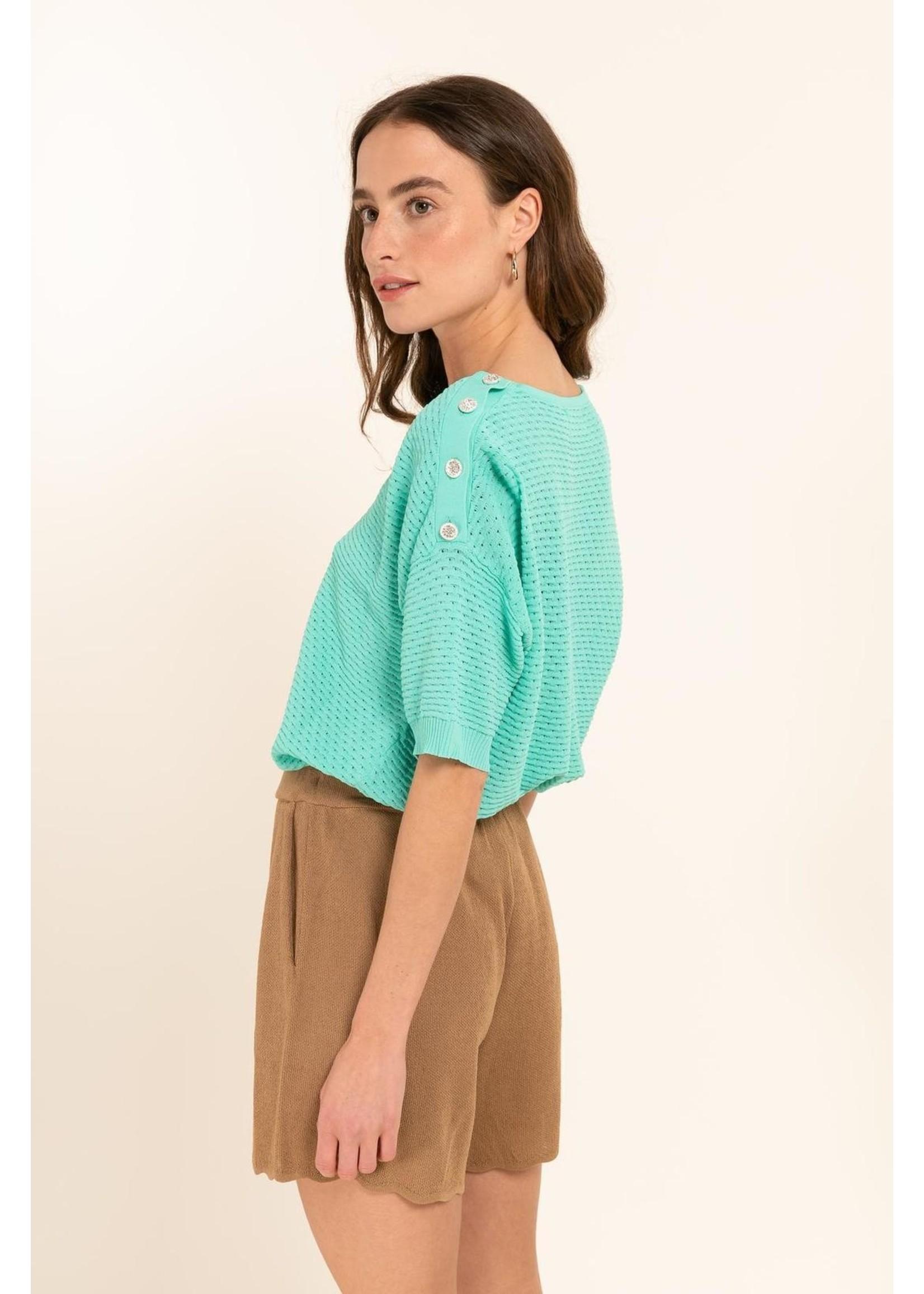 Cherry Paris Officiel Green sparkle blouse