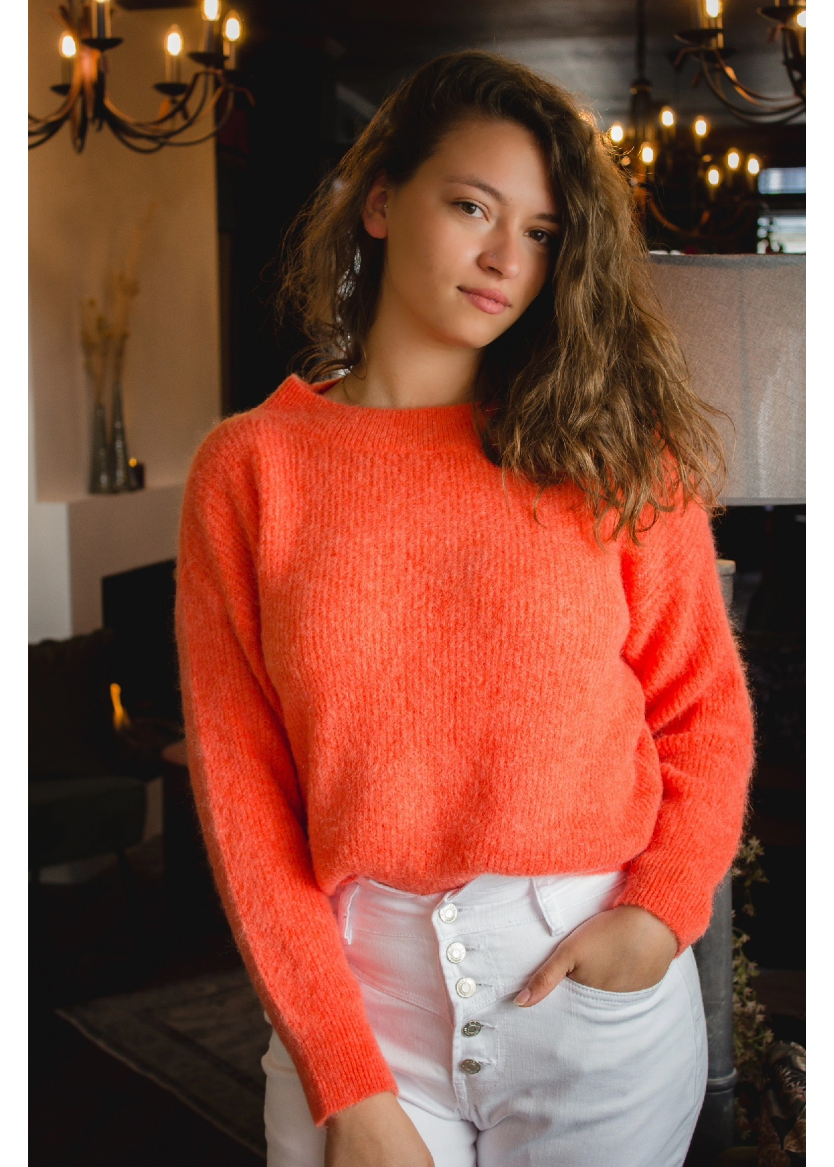 Mika Elles Coral red knitted sweater