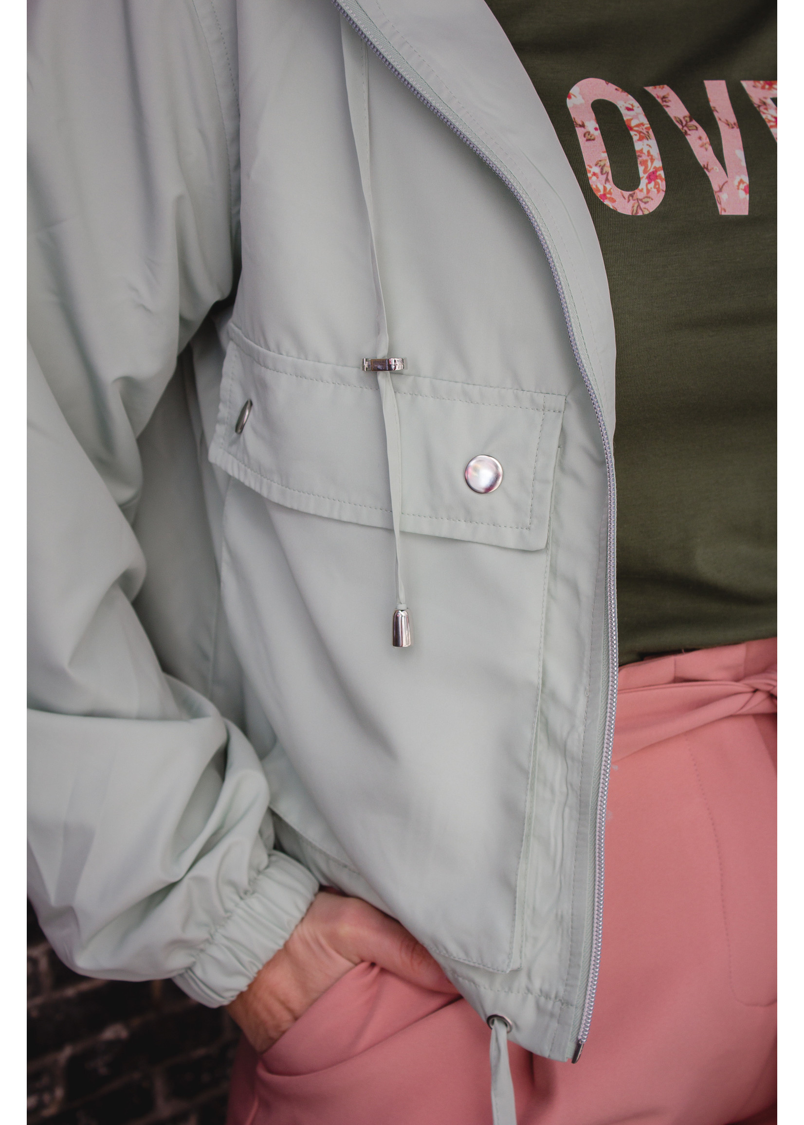 24colours Short green jacket