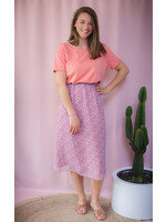 Skirt pink flower print