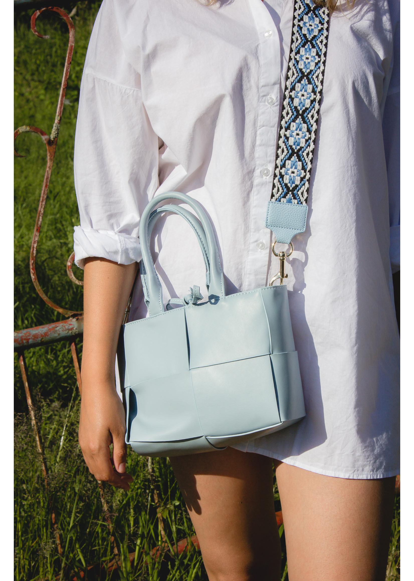 Blue bag met geweven look