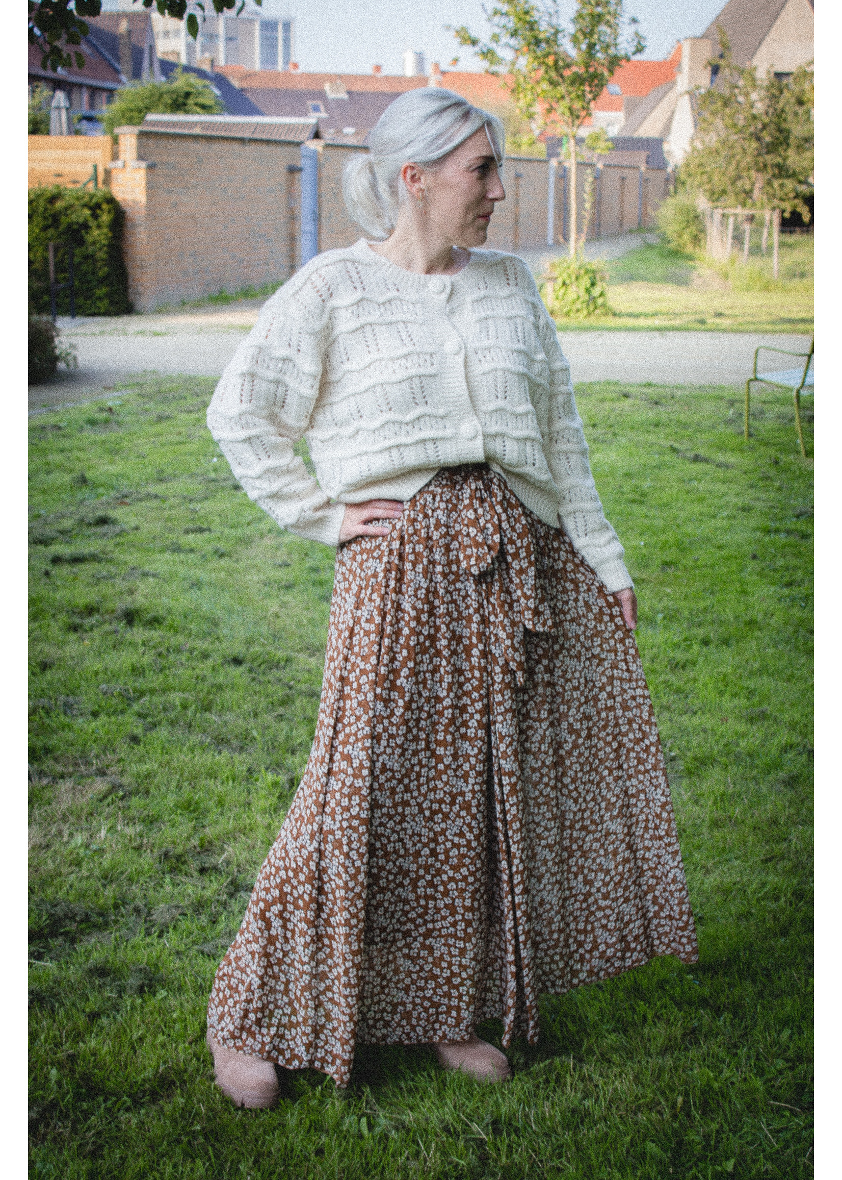 Maxi flower chocola skirt