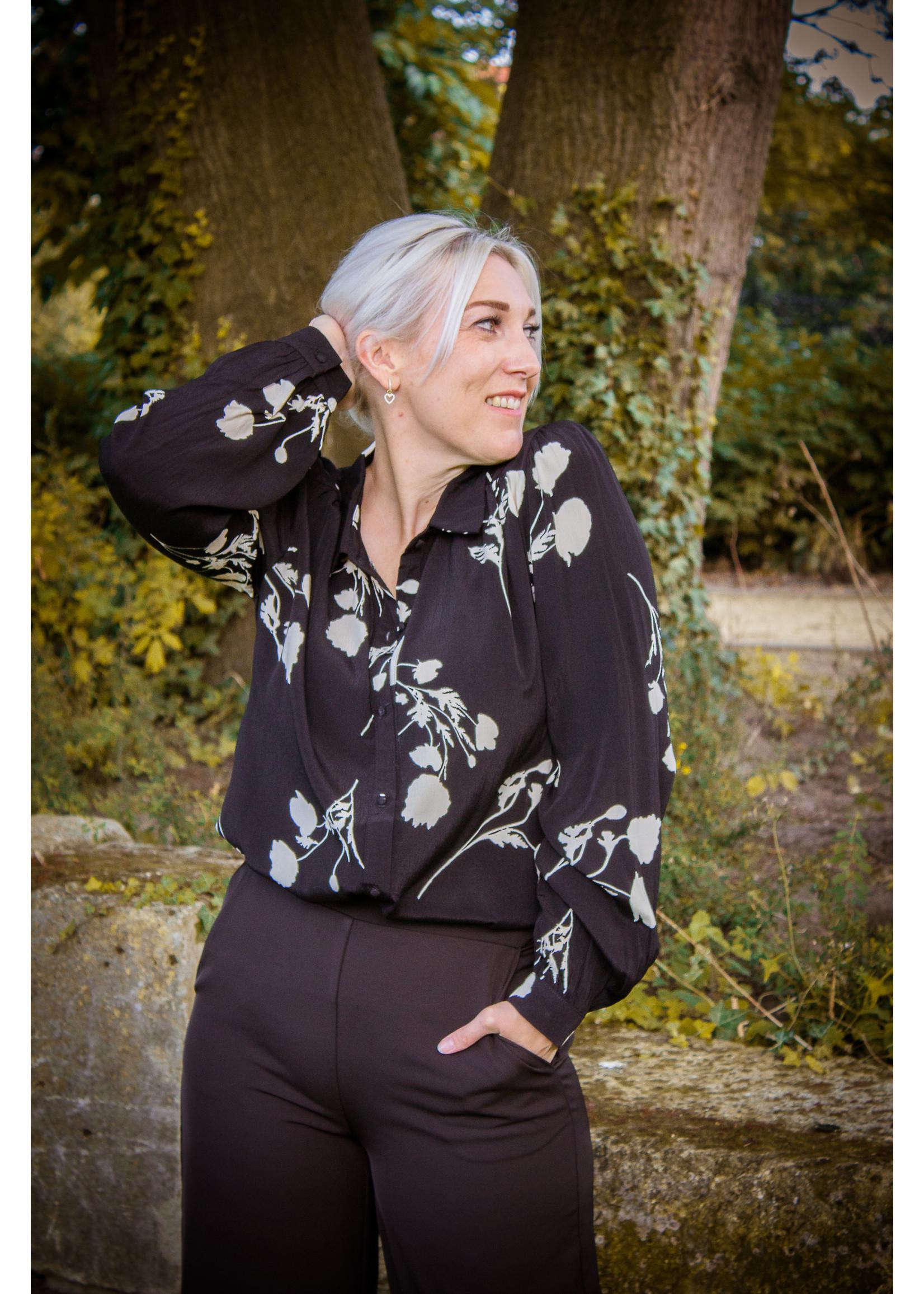 Cherry Paris Officiel Black flower blouse