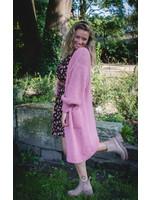 Long  pink cardigan