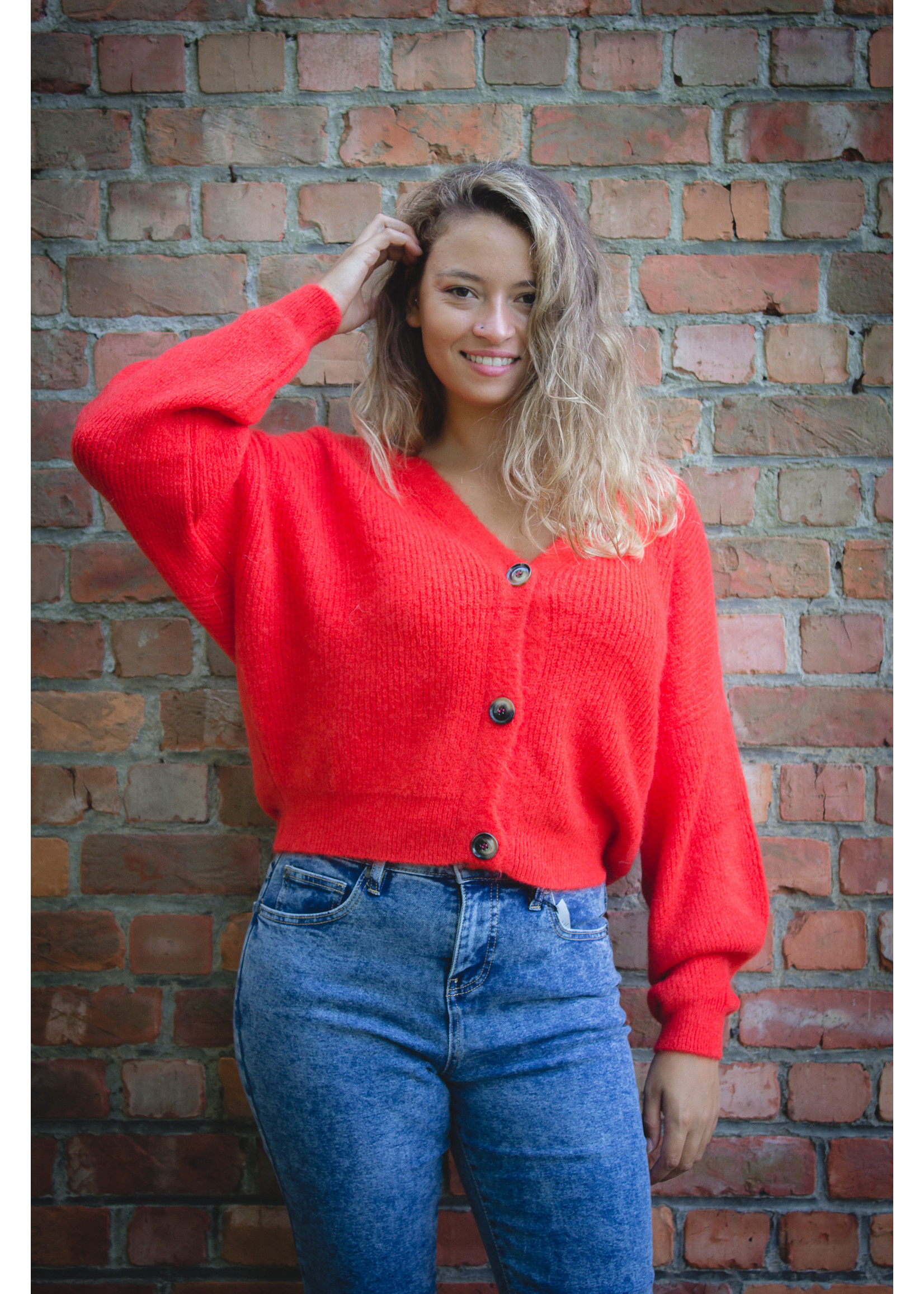 Mika Elles Royal red knitted cardigan