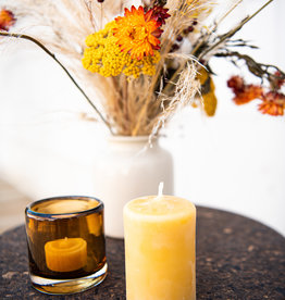 Round beeswax candle