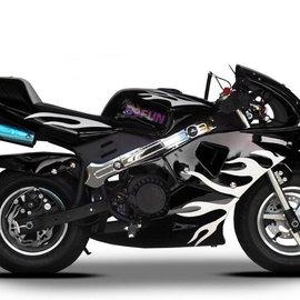 Sendai KXD Minibike 49cc zwart met witte vlammen