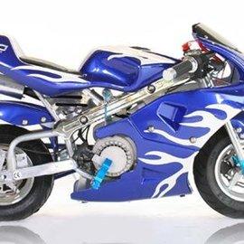 Sendai KXD Minibike 49cc blauw met witte/zilvere vlammen