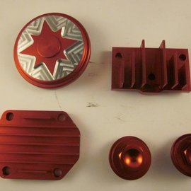 Sendai Koelribben set CNC aluminium 50cc tot 140cc (rood)
