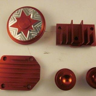 Sendai Cilinderkop tuning set CNC aluminium 50cc tot 140cc (rood)