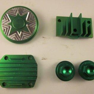 Sendai Koelribben set CNC aluminium 50 tot 140cc (groen)