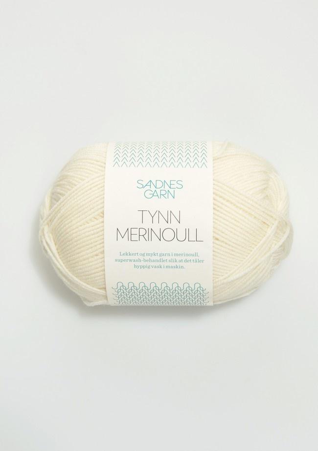 Sandnes Tynn Merino Ull - 1002 - hvit