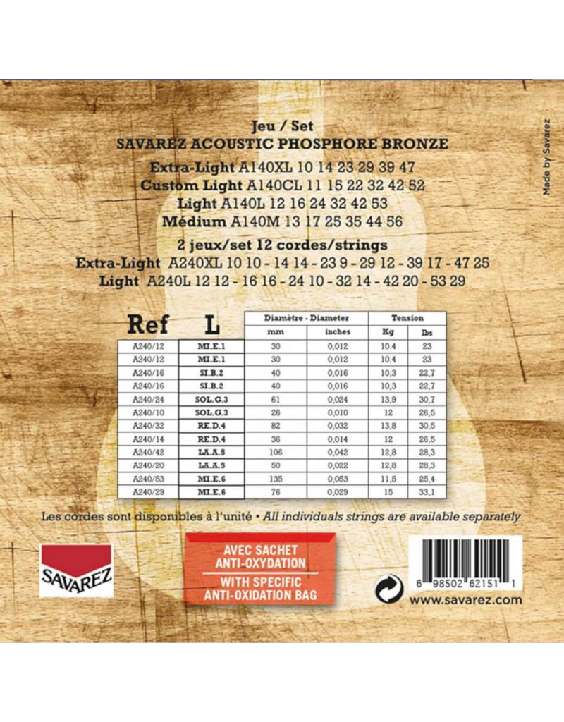 Savarez A240L 12-snarig Light akoestisch gitaar snaren 012-053