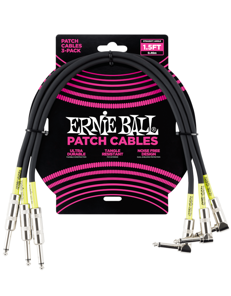 Ernie Ball 6076 Patch cable right angle 46 cm (1.5FT) 3-pack