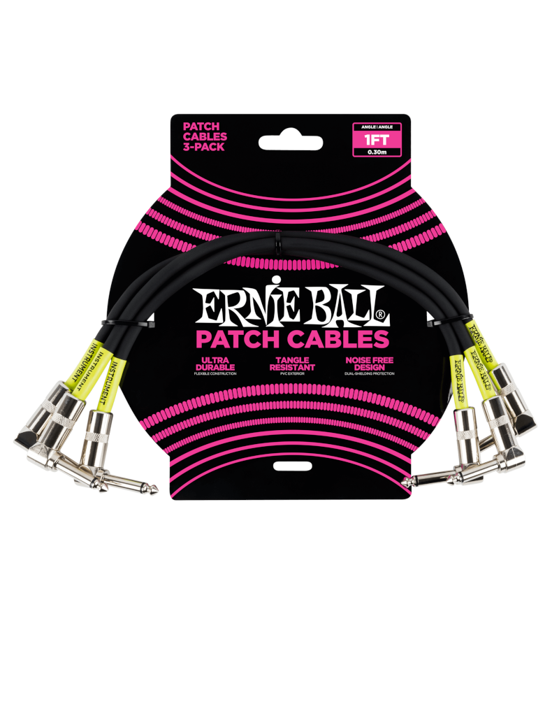 Ernie Ball 6075 Patch cable right angle 30 cm (1FT) 3-pack