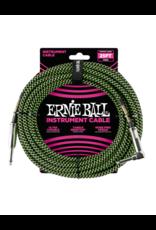 Ernie Ball 6066 Instrument kabel 7.6 m zwart/groen