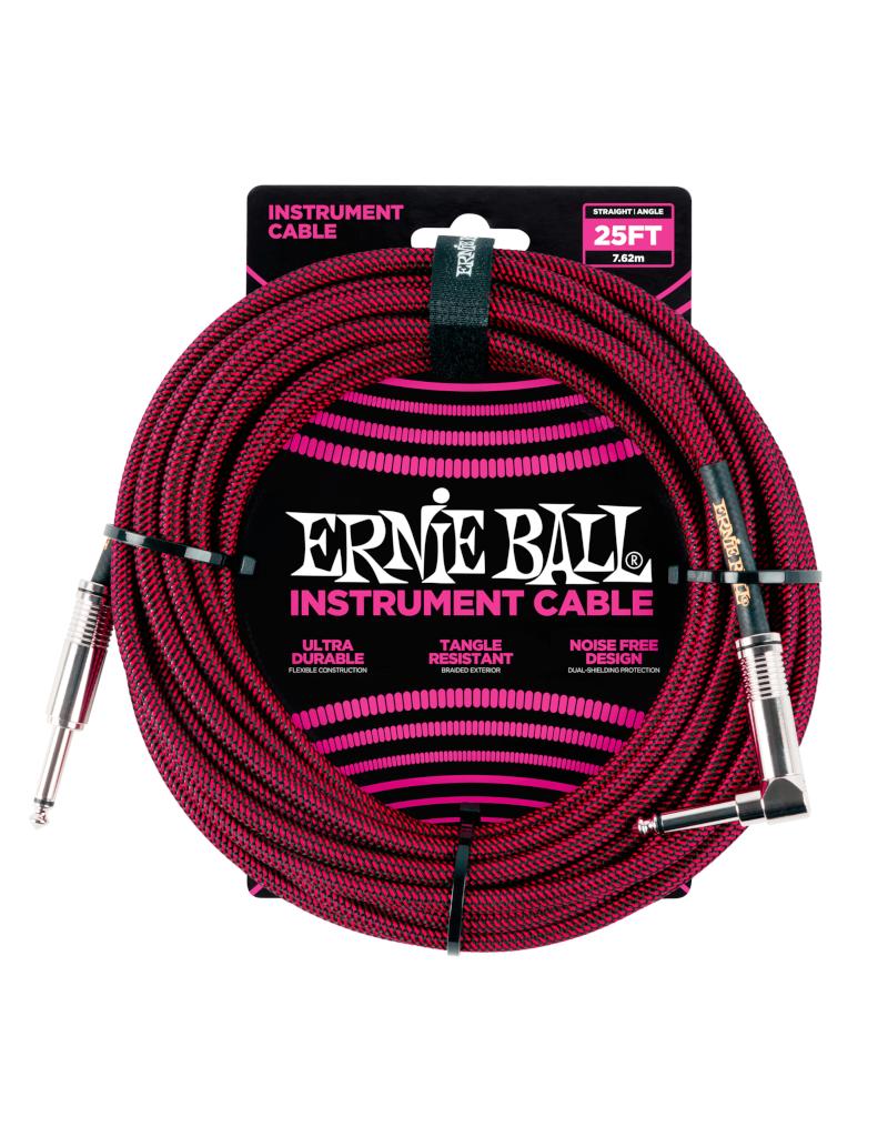 Ernie Ball  6062 Instrument kabel 7.6 m zwart/rood