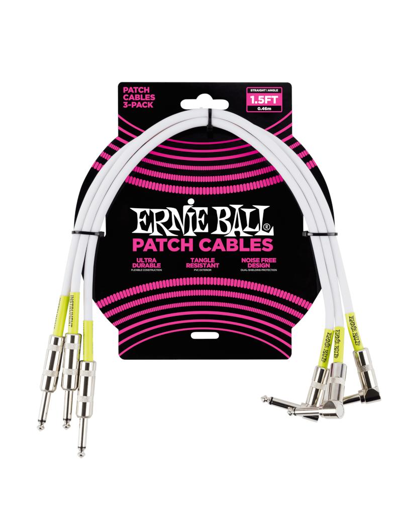 Ernie Ball 6056 Patch kabel enkel haaks 46 cm 3-pack wit