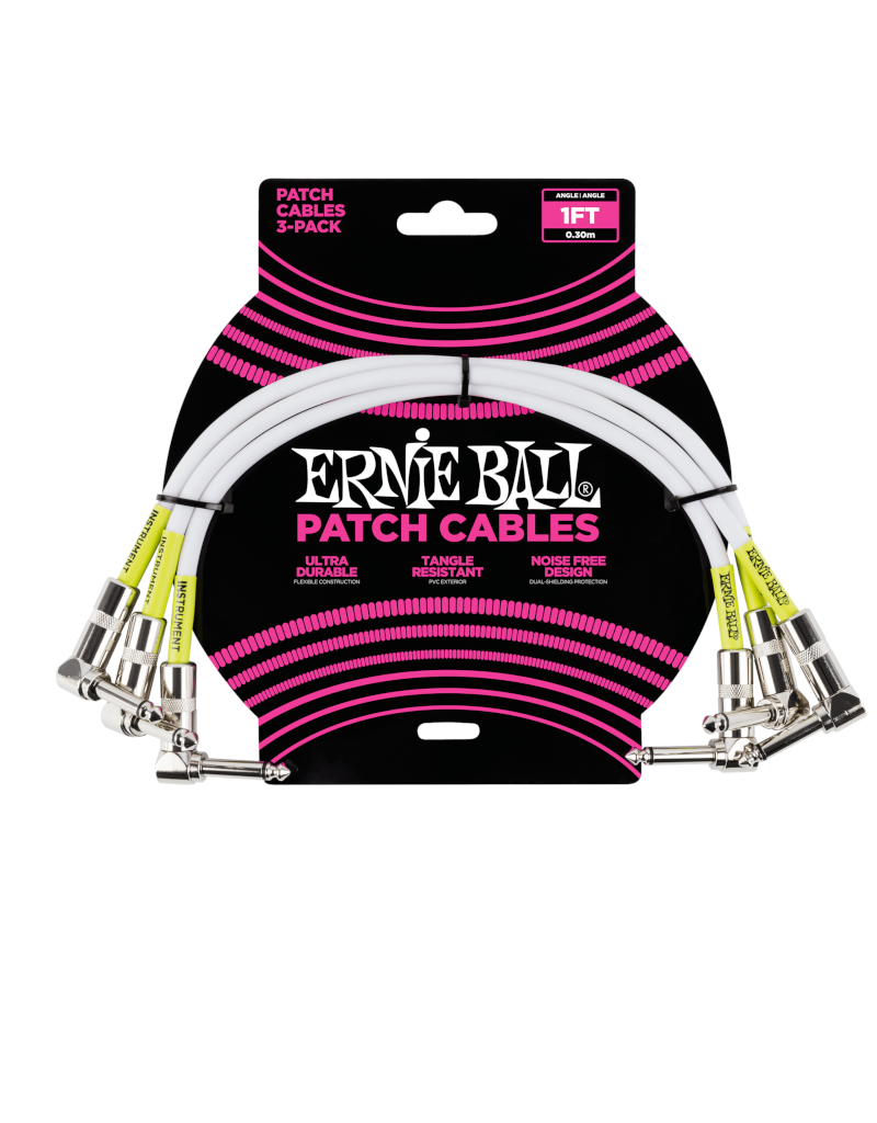 Ernie Ball 6055 Patch kabel dubbel haaks 30 cm 3-pack wit