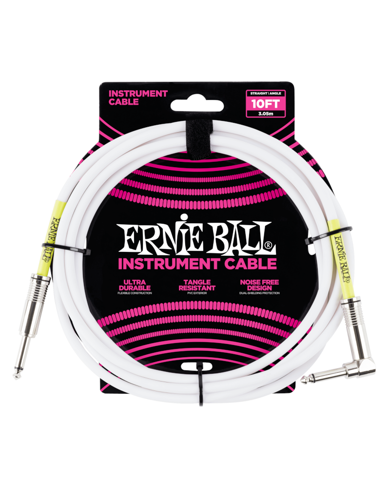 Ernie Ball 6049 Instrument kabel recht/haaks 3 m wit