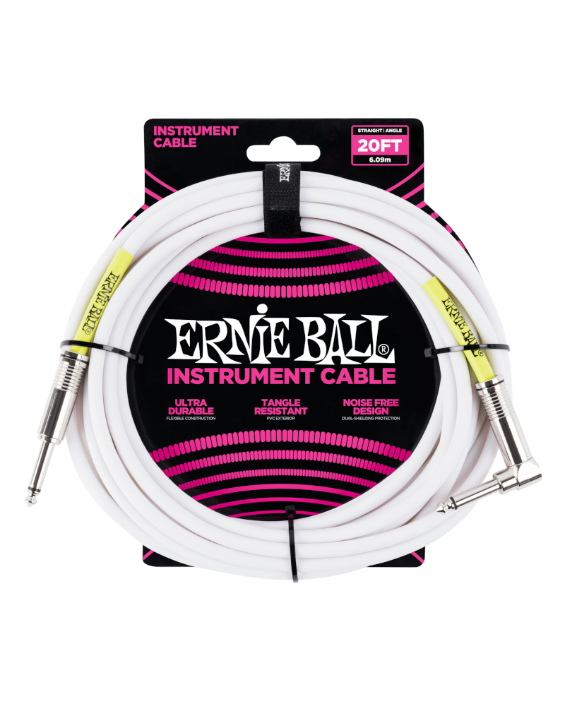 Ernie Ball 6047 Instrument cable straight/right angle 6 m (10FT) white