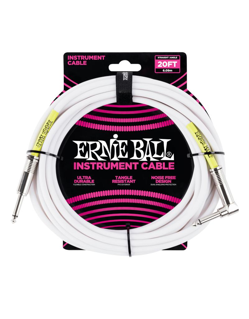 Ernie Ball 6047 Instrument kabel recht/haaks 6 m wit