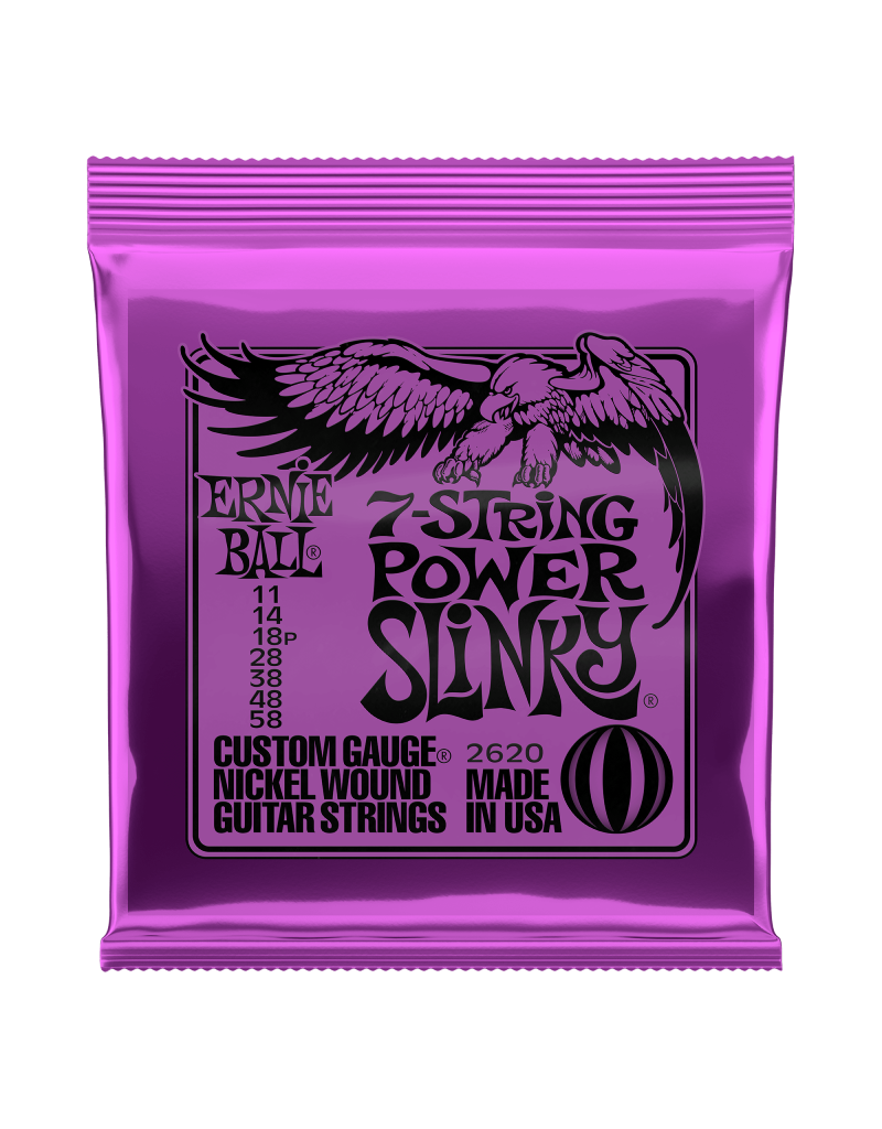 Ernie Ball 2620 Power slinky 7 snarig electric guitar strings 011-058